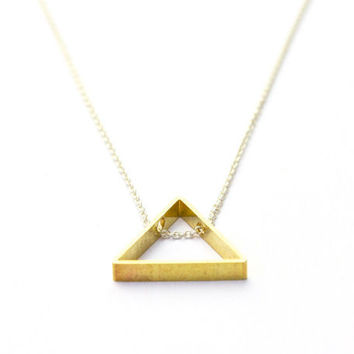 Brass triangle necklace: modern geometric jewelry