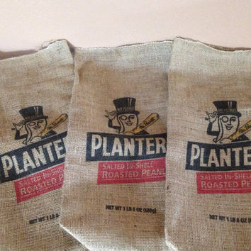 Vintage burlap planters peanuts bags set of three