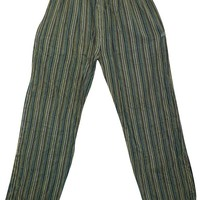 Bohemian Gypsy Chic Washed Green Unisex Yoga Pant Cotton Stripes Print Loose Trouser With Elastic Waistband Pants With Pockets