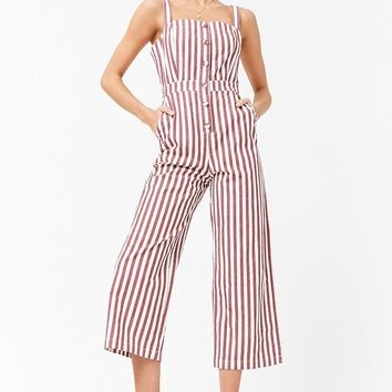 Striped Denim Jumpsuit