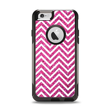 The Pink & White Sharp Glitter Print Chevron Apple iPhone 6 Otterbox Commuter Case Skin Set