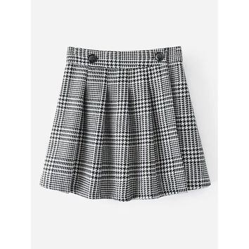 Pleated Houndstooth Skirt