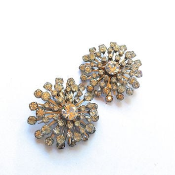 Rhinestone Starburst Vintage Earrings Retro Party Fashion Holiday Jewelry