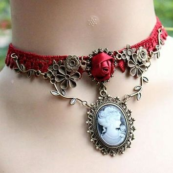 Vintage Gothic Lace Cameo Brooch Chocker Collar