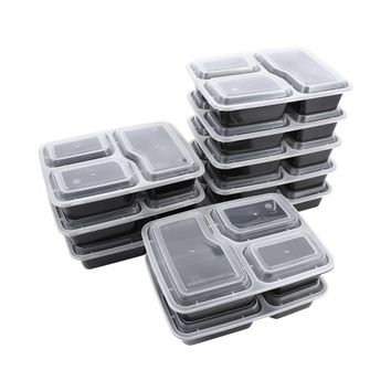 10Pcs Stackable Reusable Plastic Food Storage Containers with Lids Microwave and Dishwasher Safe Bento Lunchbox 3 Compartment