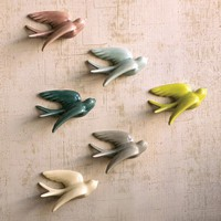Colorful Ceramic Swallows (Set of 6)