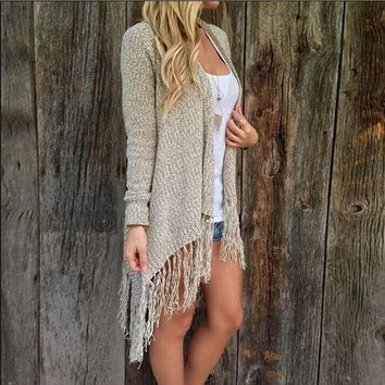 ONETOW Long-sleeved  tassel knit cardigan