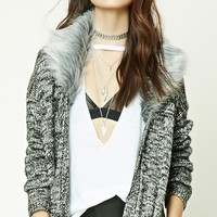 Faux Fur-Trimmed Cardigan