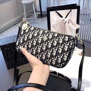 Dior 2019 new full printing D letter printing female models wild simple shoulder diagonal package