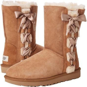 UGG Side Bow Bandage Leather Shoes Boots Winter In Tube Boots Shoes