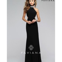 Preorder - Faviana 7700 Black Sexy Halter Cut Out Long Dress 2016 Prom Dresses