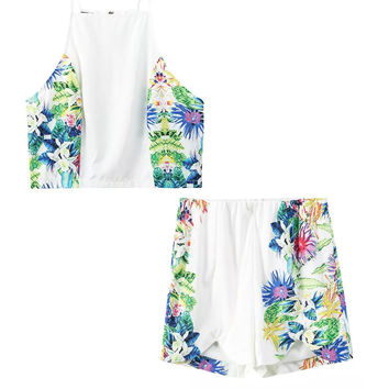 Summer Print Spaghetti Strap Crop Top Vest Casual Shorts Bottom & Top [6651190657]