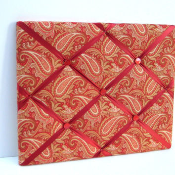Paisley Photo Memory Board, French Memo Board, Paisley in rich romantic colors of reds and oranges
