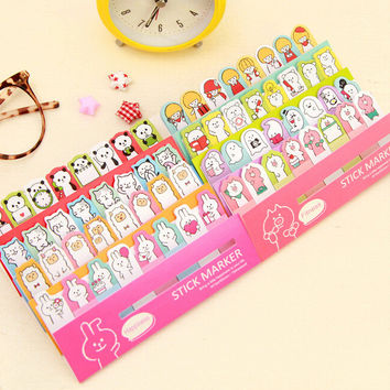 Cute Little Animals Ghost Girls Mini Memo Pad N Times Sticky Notes Bookmark School Office Supply