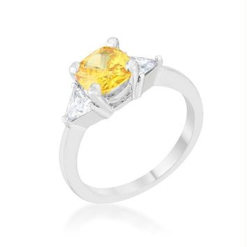 Shonda 1.8ct Canary CZ Rhodium Cushion Classic Statement Ring
