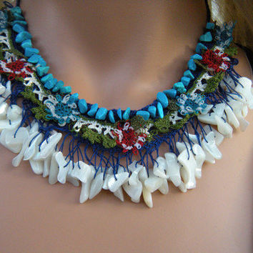 OOAK, Story of the Nile-Textile Art, Hand crocheted Necklace-Cobalt, Blue and Green Lots of Mother of Pearls and handmade laces
