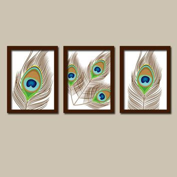 Peacock Wall Art, Bedroom Pictures, CANVAS or Prints Bathroom Decor, Bedroom Pictures, Peacock Feather Wall Art, Feather Set of 3 Home Art