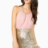 Surplice Chain Neck Sequin Dress