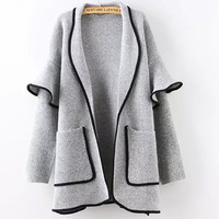 Fashion New Loose Mosaic Big Pockets Knit Outerwear