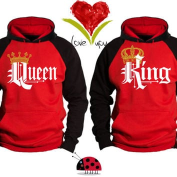 62ae6f78230b Price For 2 Hoodies - King and Queen Perfect Matching Love Set Hoodie  Sweatshirts Hood