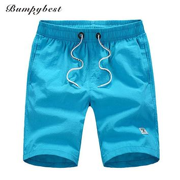 Men Elastic Waist Casual Summer Polyester Quick Drying Beach Board Shorts Men Solid Sweatpants Clothing