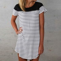 Short Striped T-Shirt Dress