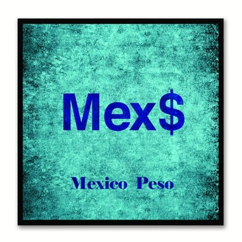 Mexico Peso Money Currency Aqua Canvas Print with Black Picture Frame Home Decor Wall Art Collection Gifts