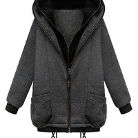 Gray Hooded Double Zip Coat with Rib Cuffs and Hem - Choies.com