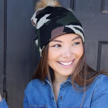 Camo Knit Beanie with Faux Fur Pom Pom