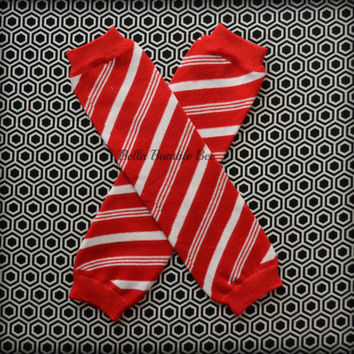 SALE READY to SHIP Baby Girl Candy Cane Winter Red White Stripe Leg Warmer Socks, Christmas Holiday Legwarmers Clothing Accessory Toddler