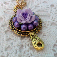Victorian Mirror Purple Rose Necklace by JANETLILY on Etsy
