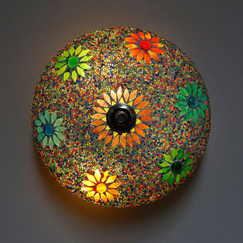 Mosaic ceiling light Ø 25 cm / 9.8 in - multicolour glass mosaic - traditional Turkish design & beads