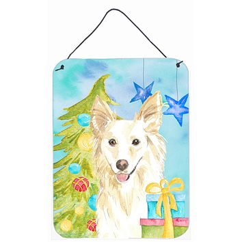 Christmas Tree White Collie Wall or Door Hanging Prints CK1856DS1216