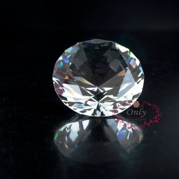 Free Shipping Fengshui Style  2 Inch 50mm Nature Clear Quartz Crystal Diamond Stone Paperweight Wedding Decoration Gifts