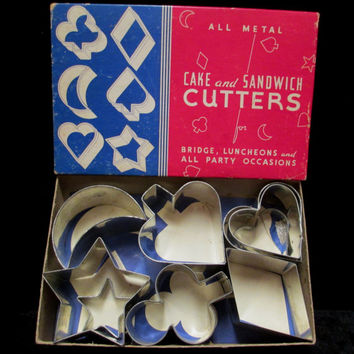 Vintage Cake and Sandwich Cutters Metal Luncheon Bridge Hearts Diamond Spade Club Moon Stars