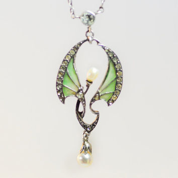 Silver Jugendstil Art Nouveau Plique A Jour Winged Paste and Pearl Necklace