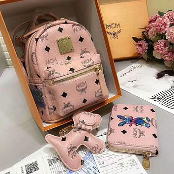 MCM Trending Women Stylish Leather School Bag Double Shoulder Bag Bookbag Backpack Purse Three Piece Set Pink I-AGG-CZDL