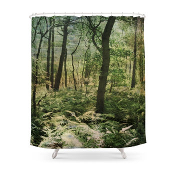 Society6 Woodland Trees Shower Curtains