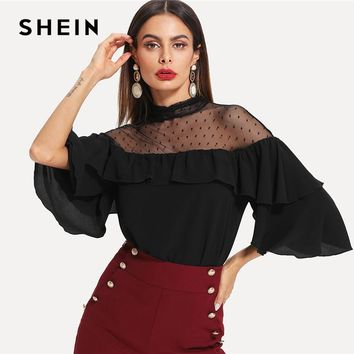 SHEIN Black Elegant Stand Collar Dot Mesh Insert Keyhole Back Flounce Sleeve Blouse Spring Fall Women Workwear Casual Shirt Top