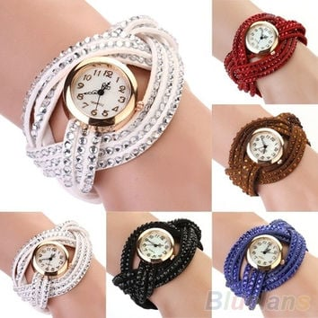 Women's Vintage Rhinestone Weave Wrap Multilayer Leather Bracelet Wrist Watch, braided band ,  bracelet watch, cute = 1931726084