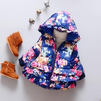 Baby girl Jacket Winter Christmas Baby Kids Floral Outwear Girls Warmth Coat Girl Fashion Floral Hoodies Outwear