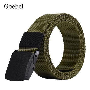 Goebel Canvas Belts Man Casual Practical Men Belts Solid Color Simple Male Plastic Buckle Belts