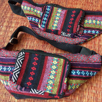 Ethnic Tribal Fanny pack bum bag Boho pattern fabric belt belly festival Pouch Travel cycling phanny waist Hippies Bohemian men women in red