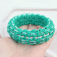 Hand Knitted Bangle Bracelet, Green and White Bracelet, Cuff Bracelet. Cotton bracelet