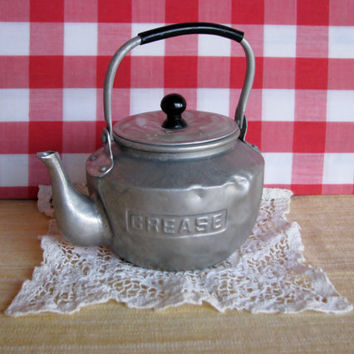 Vintage Grease Pot Aluminum Tea Pot Toy 1950's