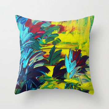 FLORA - Gorgeous Lemon Lime Citrine Chartreuse Floral Bouquet Garden Flowers Colorful Nature Beauty Throw Pillow by EbiEmporium | Society6