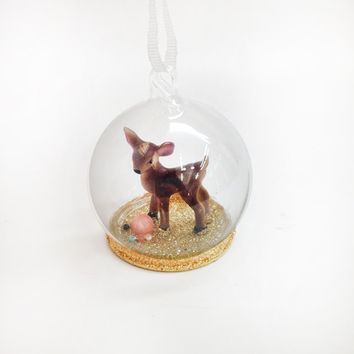 Mini Fawn Globe Ornament