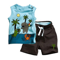Coconut Tree Baby Boy Kid Summer Sleeveless T-shirt Top Clothes Short Pants Outfit
