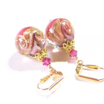 Murano Glass Pink Swirl Gold Earrings, Venetian Jewelry