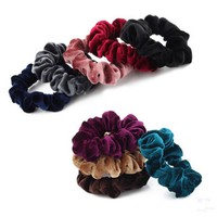 Hot  New Fashion Velvet Women Elastic Scrunchie Scrunchies Donut Hairband Ponytail Holder Hair